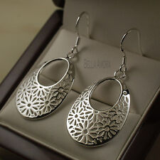 925 Stamped Silver Plated Filigree Oval Round Flower Drop Dangle Earrings -UK 89