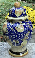 "Large Ginger Jar~15.5""H~Blue & Yellow~Pears/Apples/Grapes/Leaves~FREE SHIPPING"