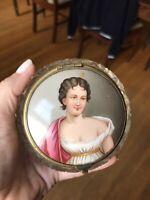 Antique 1800's Portrait Miniature Porcelain Plaque Painting Of A Woman