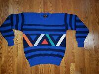 Vintage DEMETRE Men's size LARGE Wool Ski Sweater Crew Neck  Blue Multicolor
