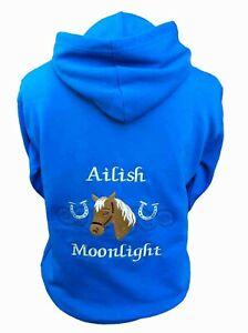Personalised embroidered horse pony hoodie horseshoes