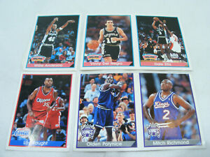 Lot 6 cartes PANINI BASKETBALL '94-'95 NBA Vintage Kings Spurs Clippers Stickers
