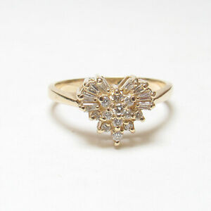 Estate 14K Yellow Gold Baguette And Brilliant Cut Diamond Heart Ring 0.40 Cts