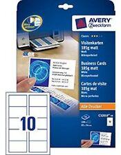 Avery ZWECKFORM Business Cards 85x54mm 185g c32010-10 Matt White