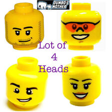 LEGO 4) Heads Male Female Beard Sunglasses Peach Lips Smile Wry Grin Yellow NEW