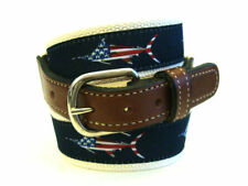 Mens MARLIN USA Embroidered Leather Canvas Ribbon Fishing Belt  NWT select size