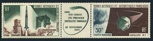 FSAT C9-C10a strip,MNH.Michel 33-34. French Satellite A-1 issue,1966.
