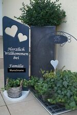 Blumenkasten und Glaslaterne Holz Deko Schild Willkommen mit Wunschname