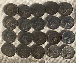 Lot de 20 pièces 5 Francs semeuse argent. Année 1960 /62 63