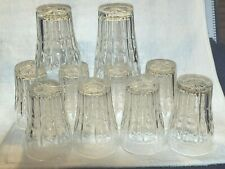 Vintage Set of 10 Clear Glass Ribbed Juice Glasses