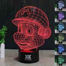 Super Mario Run 3D LED Acrílico 7 Color Luz de noche Lámpara nocturna Regalos
