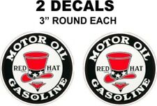 2 Red Hat Motor Oil Gasoline Decals - Very Nice - Sharp - Great For Gas Oil Cans
