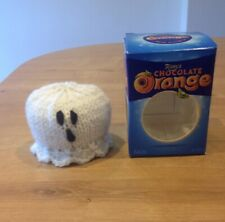 Hand Knitted Halloween Ghost Chocolate Orange Cover/ Bath bomb Cover