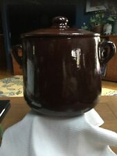 Sur La Table Huge Dutch Oven or Bean Pot Redware Terra Cotta Drip Glaze  9.5""