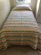AMAZING VINTAGE CHENILLE CUSTOM MADE TWIN BEDSPREAD AND SIDE PANEL DRAPES