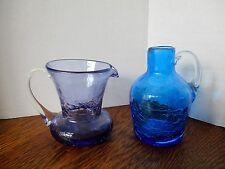 "Vintage CRACKLE GLASS Small 4"" Cobalt Blue Jug & 3.25"" Purple Pitcher NICE PAIR!"