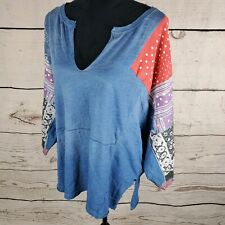 Free People Small Top Patchwork Blue Oversized V Neck Tunic Tee Boho Shibuya