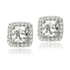 925 Silver 3.5ct Created White Sapphire Cushion-Cut Stud Earrings