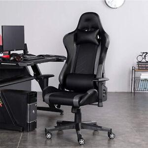 Gaming Home Chair Office Adjustable Comfortable Racing Highback Gray Black