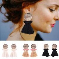 Women Rhinestone Long Tassel Earrings Ear Stud Dangle Hollow Flower Pandent Drop