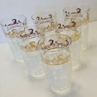 Set of 6 Vintage '60's Anchor Hocking Amish Horse Buggy Glasses White Gold 10 oz
