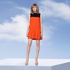 Victoria Beckham for Target Orange Drop Waist Scallop Trim Dress - S (Small)