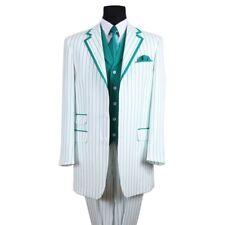 Men's 3 Piece Elegant 3 Button Striped Suit w/ Vest 5908 White/Red, White/Blue