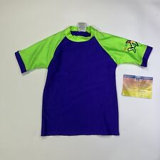 Radicool Skinz Rash Guard Shirt Kids 10 Purple Green SPF UPF Protection E8