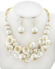 Statement Cream Pearl Gold Tone Bead Women Fashion Jewelry Necklace Earring Set