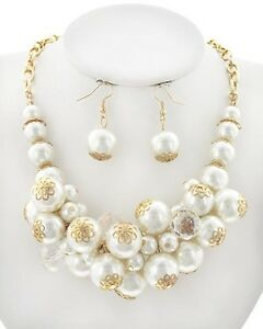 Statement Cream Pearl Bead Women Necklace Earring Set