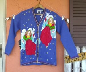 NWT Storybook Knits Handknit Cardigan Sweater ANGELS Ramie Cotton Small