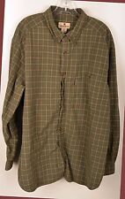 Woolrich Mens Shirt Size XXL L/S Button Down Green Brown Beige Plaid 100% Cotton