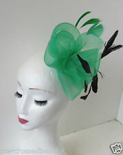 Large Green & Black Net Fascinator Hair Clip Races Wedding Vintage Style Big Q51