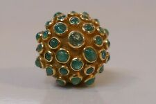 Mid-Century Modern 18kt Yellow Gold & Emerald Dome Shaped Ring -  Size 7 3/4