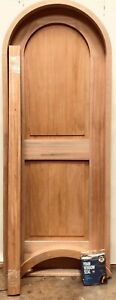 Rustic arched round top top door solid mahogany wood castle winery + trim