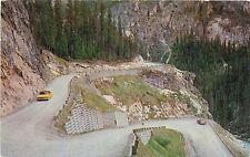Postcard Switchbacks Road to Takkakaw Falls Yoho Valley Canadian Rockies old car