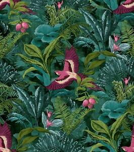 Tropical Rainforest Wallpaper Botanical Floral Birds Jungle Teal Green Rasch