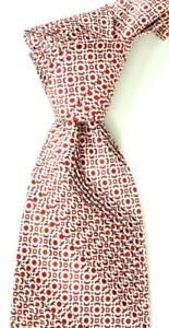$450 Stefano Ricci Pleated Satin Red w White Medallions Silk Neck Tie NWT 3.9 W