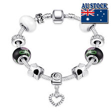 20cm Silver Filled Clasp Multi-Colour Love Bracelet, Antique DIY Style Gift