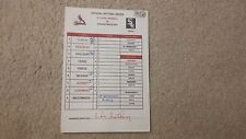 St. Louis Cardinals Signed Game Used Manager Lineup Card Yoder Molina