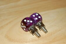 DUDDS DICE PURPLE SWIRL w/WHITE DOTS LICENSE PLATE BOLTS (SET OF 2)