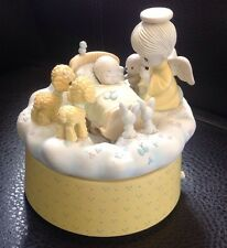 PRECIOUS MOMENTS Enesco Baby/Angel-Jesus Loves Me -Moving Music Box Free Ship!