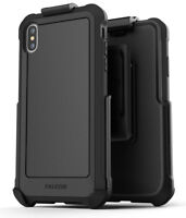 iPhone XS Max Belt Clip Case Cover with Holster Rugged Protective (Falcon) Black