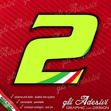 Adesivo Stickers NUMERO 2 moto auto cross gara Verde Acido Kawa & Tricolore 5 cm