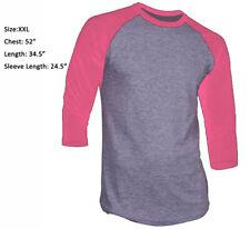 New 3/4 Sleeve Raglan Baseball Mens Plain Tee Jersey Sports TShirt Gray Pink 2XL