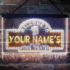 Personalized Name Est Year Home Theater Cinema Dual Color Neon Sign st6-ph2-tm