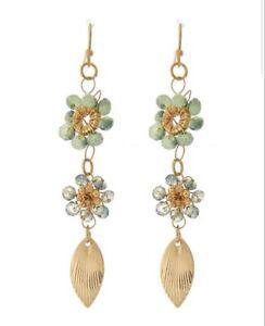 Flower Dangle Earrings Green Bead Wire Wrap Gold stone