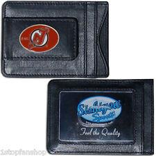 New Jersey Devils Fine Leather Money Clip ID Card Cash Holder Wallet NHL Hockey