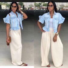 Fashion Women's Ruffle Summer Short Denim Jacket Casual Short Sleeves Coat