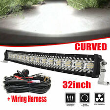"Curved 32"" 2730W LED Work Light Bar Spot Flood Combo Off-road Truck +Wiring Kit"